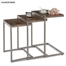 iKayaa US UK FR Stock 3PCS Metal Frame Nesting Tables Set Sofa Couch Living Room Side End Tables Ottoman Bedroom Night Stand