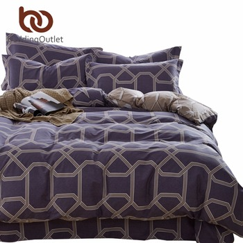 BeddingOutlet Bedding Set Queen King for Boys 100% Cotton Bedclothes 4 Pieces Geometric Printed Bed Linen Fashion