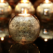 Freeship!  Wilko Mercury Silvering Round Glass ball candle holders Xmas Table Decor Tealight Holders Wedding Festival Home 10cm