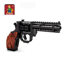 Ausini Revolver Pistol Power Gun Weapon Arms Model 1:1 3D Model Brick Gun Building Block Set Toy Gift For Children