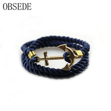 2017 Vintage Woven Multilayer Anchor Bracelets & Bangles For Women Men Jewelry Trendy Rope Bracelet New Hot Brand Accessories