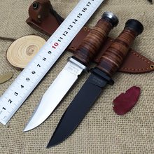 2 Colors KA-BAR OLEAN NY USN MK1 Fixed Knife Steel+Leather Handle 7CR17Mov Blade Utility Knife Leather Sheath Camping Tool