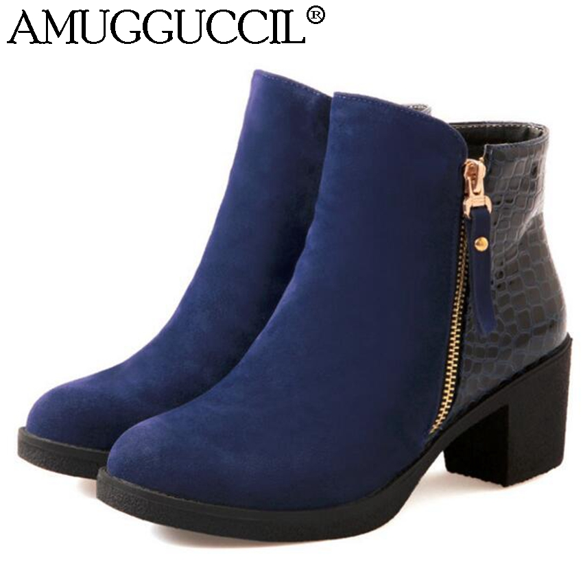 Wholesales Plus Big Size 34-43 Black Blue Patchwork Zip Fashion Casual Spring Autumn Mid Heel Female Girl Lady Women Boots X810<br><br>Aliexpress