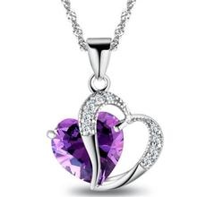 1 PC 7 Colors Top Fashion Class Women Girls Lady Heart Crystal pendentif amethyste Maxi Statement Pendant Necklace NEW Jewelry(China)