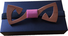 Original New Hollow Cherry Wood bowtie butterfly bowknot mens tie wooden bow ties for Christmas free shipping