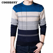 COODRONY Autumn Winter Soft Warm Sweater Men Knitted Cashmere Wool Pullover Men Casual Striped O-Neck Pull Homme Plus Size 66143(China)