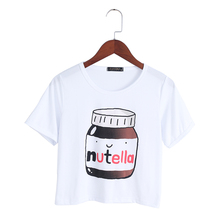 Buy Harajuku 2017 Summer T-shirt Nutella Print White Crop Tops Short Sleeve T shirts Fitness Women Fashion Kawaii T-shirt for $2.97 in AliExpress store