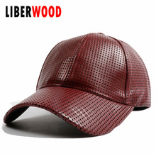 [LIBERWOOD] Men Women solid color Baseball Cap pu leather adult travel cilmbing hiking Hat Sports golf cap adjustable snapback
