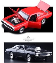 Candice guo alloy car model 1:32 Dodge challenger 1970 vehicle plastic motor pull back with light sound birthday gift toy 1pc