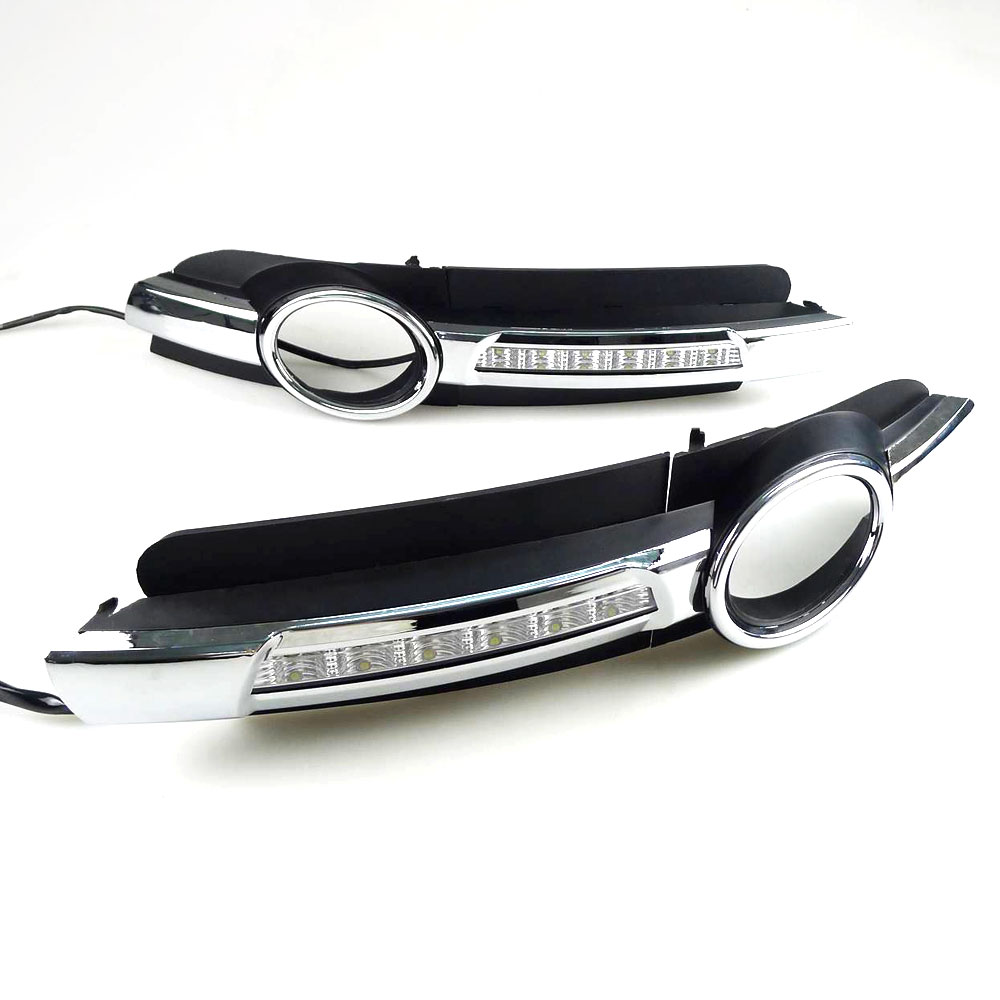 DRL Daytime Running Light for Audi A6 C6 2005 2006 2007 2008 Left Right side Chrome White DRL Waterproof Car Styling light<br>