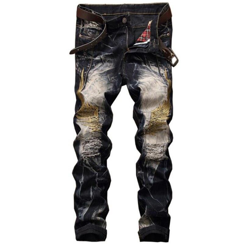 Men jeans 2017 new high quality holes jeans men Casual straight ripped jeans for men embroidery denim trousers  jeansÎäåæäà è àêñåññóàðû<br><br>