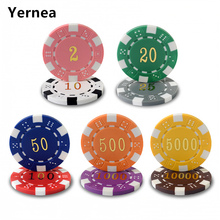20PCS/Lot New Coins ABS Burn Poker Chips Texas Hold'em Poker Chip Set Baccarat Upscale Set Pokerstars High-grade 12 Color Yernea(China)