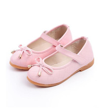 PU Leather Bow Kids Shoes For Girl Princess Party Wedding Dance Baby Girl Shoes For Children Pink 2017 Shoes Spring Summer(China)