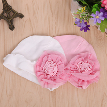 Cute Newborn Baby Infant Girls Toddler Big Flower Soft Cap Beanie Hat Fashion White/Pink(China)