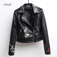 Ftlzz Autumn Embroidered Leather Jacket Women Fashion Slim Vintage Pu Leather Motorcycle Jacket Short Design Zipper Black Coats(China)