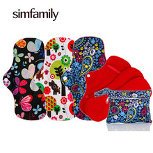 [simfamily] 3 Sets Reusable Waterproof Regular Flow Menstrual Cloth Sanitary Pads Set + 1 pc Mini Wet Bag(China)