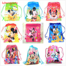9pcs Cartoon Minnie Mickey Mouse non-woven fabrics drawstring backpack schoolbag shopping bag LUHONGPARTY