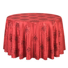 1PCS Poly Jacquard Solid Dining Tablecloth Hotel Banquet Wedding Table Linen Round Elegant Red Table Covers Square Table Cloths