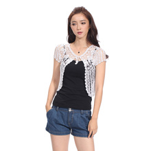 Hand knitted Summer Elegant Fashion Women  Beading Short Sleeve Cardigan Cheap Sweaters Crochet Shrug Hollow Out Open Stitch