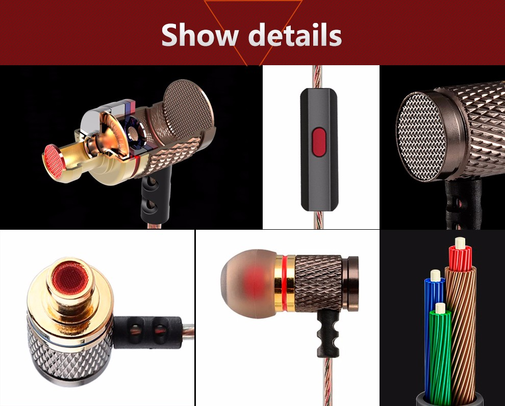 QKZ DM6 Earphones Enthusiast bass In-Ear Earphone Copper Forging 7MM Shocking Anti-noise Microphone Sound Quality fone de ouvido 3