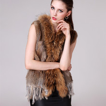 Autumn Winter Women's Genuine Real Natural Knitted Rabbit Fur Vest Raccoon Fur Collar Lady Waistcoat Female Gilet VF0362