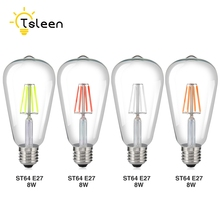 TSLEEN 10Pcs Energy Saving Edison LED Filament Bulb E27 8W Pink Red Blue Green LED Party Lamp colorful LED Light Ampoule Lampara(China)