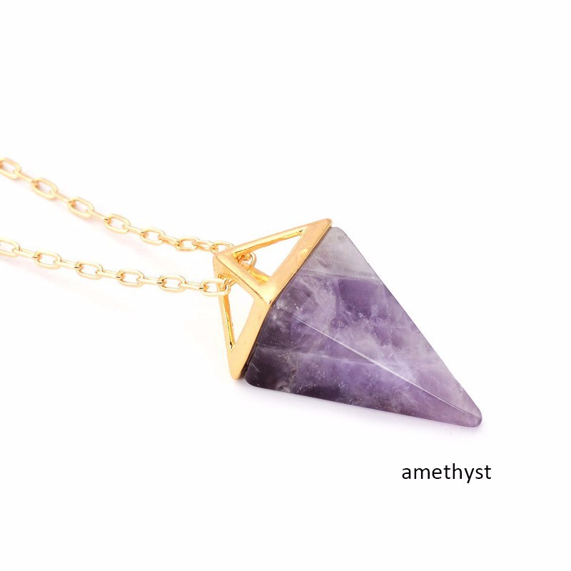Wholesale 5pcs\lot Purple Quartz Stone Pyramid Necklace Bohemian  Crystal Gold Layer Boho Necklace Jewelry Gift For Her