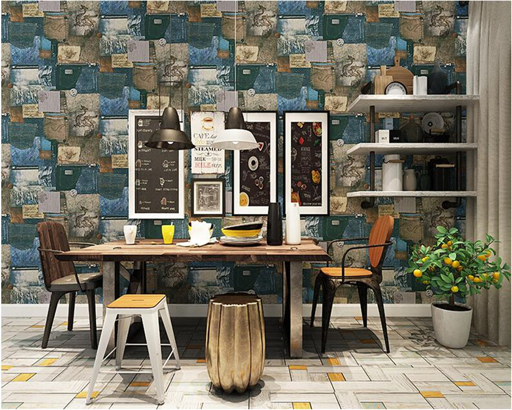 beibehang Environmental protection modern simulation jeans business place clothing store coffee shop background PVC wallpaper<br>
