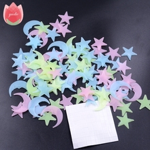 100Pcs Star and Moon Energy Storage Fluorescent Glow In The Dark Christmas Kids Bedroom Wall Stickers Baby Rooms Home Decoration(China)