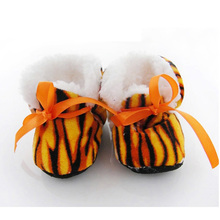 New Fashion Leopard Print Baby Girl Boots Soft Sole Baby Winter Boots Anti Slip Infant Shoes 10.5cm
