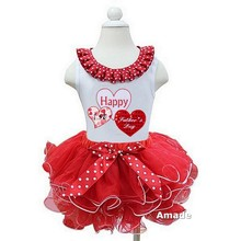 Girl Happy Father's Day Clothing White Pettitop Tank Top with Red White Pettiskirt 2 pcs set Party Dress 1-7Y