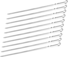 15-inch Stainless Barbecue needle,GaiaBBQ A91,10 pcs,Steel Flat Shish Kebab BBQ Skewers