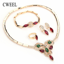 CWEEL Fashion Women Jewelry Sets Necklace Wedding Turkish Accessories Imitation Crystal Gold Color Party Vintage Jewellery