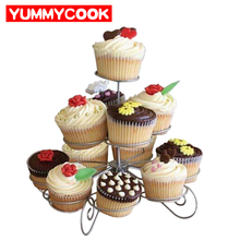 3 Tier Wire Cupcake Stand Muffin Holder Tower Wedding Cakes Decorating Supplies Baking Kitchen Party Tools Accessories Products(China)