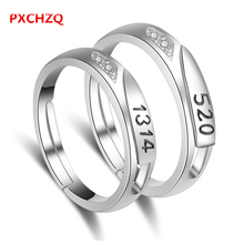 PXCHZQ Popular silver jewelry lovers male models female models ring size adjustable high-end luxury wedding ring 520 for life