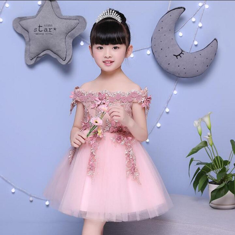 Girls Shoulderless Wedding Knee-Length Dress Beaded Appliques Party Princess Birthday Dresses Communion Gown Festive Costumes<br>