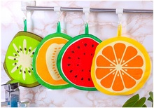 4Pcs/lot Fruit Kids Hand Towel Candy Color Home Cleaning Cloth Cartoon Absorbent Kitchen Hanging Towels Dish Cloths Free Ship