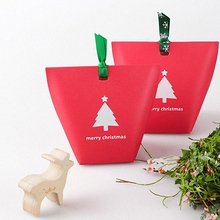 10PCS Winter Merry Christmas Tree Gift Box Red Snowflake Paper Bag Candy Box Sweet Cookie Bin For Party packaging supplies Green