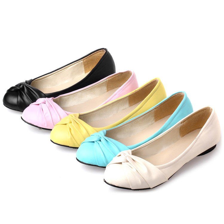 Large Size 34-43 Womens Fashion Shoes Woman Flats Spring Shoes Female Ballet Shoes Metal Round Toe Solid Casual Shoes H09<br><br>Aliexpress