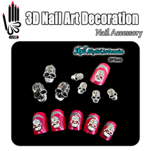 Beauty!! 10pcs/Lot 3D Nail Supply Alloy Skull Nail Art Glitter Clear Rhinestone Nails Art Decorations Free shipping(China)