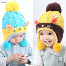 2017 Baby Hat Scarf One Piece Kids Winter and autumn Crochet baby Girls Boys All For Children protection head warm hat caps