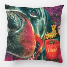 Black Rottweiler Dog Autumn Harvest Pumpkin Art Pillow Wedding Decorative Cushion Cover Pillow Case Customize Gift For Car Sofa