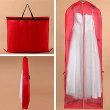 Long Red Non-woven Fabrics Wedding Dress Dust-proof Bag Evening Dress Dust Cover Bridal Garment hanging dual Storage Bag 155cm