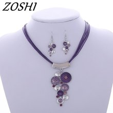 ZOSHI Fashion Crystal Jewelry Sets Rope Chain Pendatn Necklace Drop Earrings Wedding Bridal Jewelry Sets For Women Boho Gifts