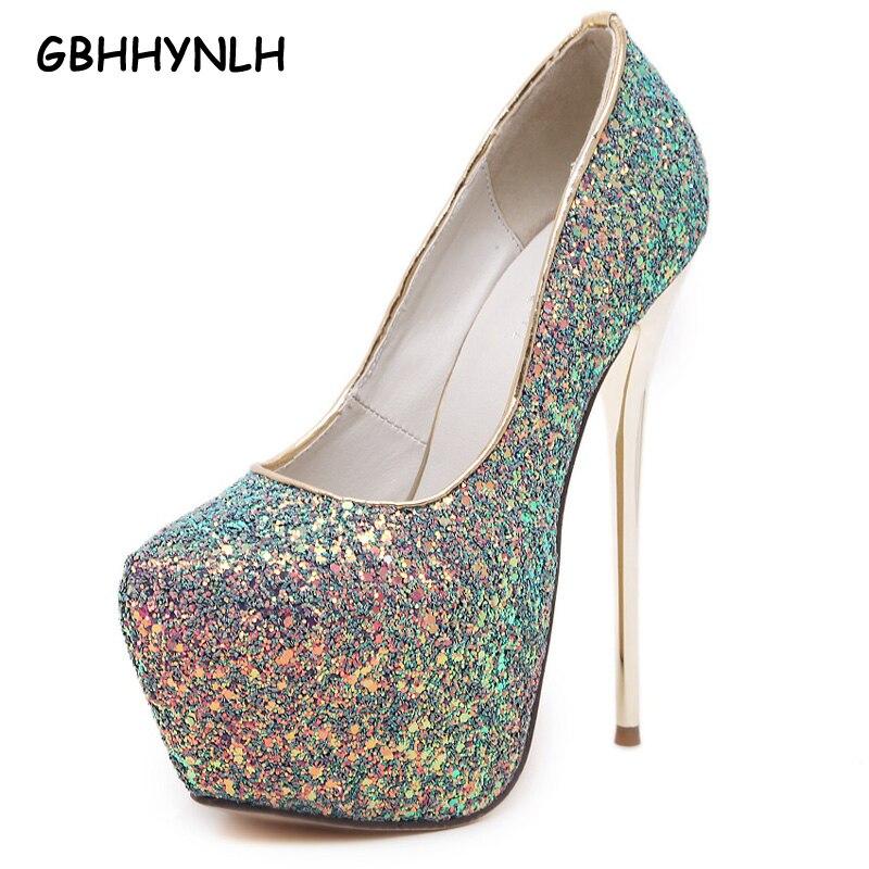 pink sexy pumps party shoes for women 16cm extreme high heels shoes paillette platform heels white pumps blue black heels LJA31<br>