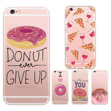 Charming Delicous Donut Love Pizza Glasses Red Wine Phone Case Thin Soft TPU Silicone for iPhone 5 5s SE 6 6s 7 Plus Back Capa
