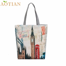 AOTIAN London Big Ben Canvas Tote Casual drop ship beach Bags Women Shopping Bag Handbags a22  Drop Shipping Wholesale