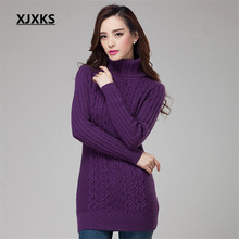 XJXKS Women Basic Sweater Solid Color Slim Flat Knitted Long-Sleeve Autumn Style Pullover All-Match Thicken Turtleneck Sweater