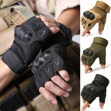 New Tactical Gloves Military Fingerless Army Paintball Airsoft Combat Anti-Skid Carbon Knuckle Half Finger Gloves