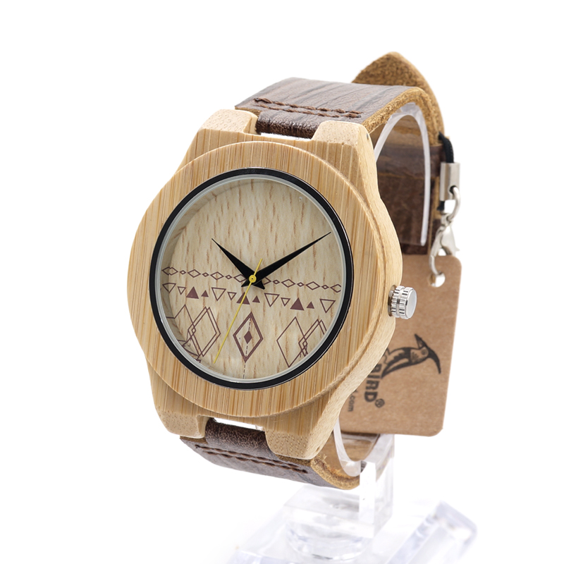 BOBO BIRD E16 Mens Water Resistant Natural Bamboo Wood Watches With Leather Band Timepiece in Wood Box<br><br>Aliexpress